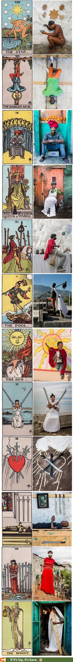 Photographer re-interprets traditional European Tarot Cards with photographs from Haiti.  Apologies for the article's insensitive title - this pinner did not notice it originally - but I feel the artwork is beautifully done even if the accompanying text is not at all.