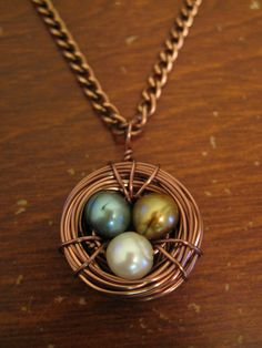 HANDMADE Copper Bird's Nest Necklace with Various Pearl Eggs ($15)
