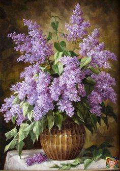 Lilac Flowers, Vintage Flowers, Beautiful Flowers, Flower Vases, Flower Art, Flower Arrangements, Art Floral, Watercolor Flowers, Watercolor Paintings