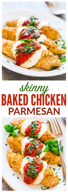 Healthy Baked Chicken Parmesan. Crispy, juicy, and even better than a restaurant! Easy, kid-friendly recipe. Ready in 30 minutes! Recipe at wellplated.com | @wellplated