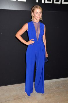At the Georges Hobeika show, Julianne Hough sizzled in a lapis blue jumpsuit with a sexy sheer neckline.