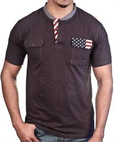 Men's slub henley t-shirt from Aknowledge  Soft slub fabric  2 front flap pockets  Chambray and US flag trim  100% cotton  Machine wash