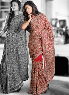 Buy Red Jhalak Work Georgette Saree, Saree Online Shopping, sakaas11021b