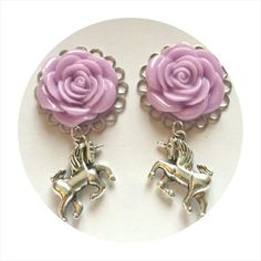Plugs ~ Lilac Rose Unicorn ~ Dangle plugs, Presents for girly girls, Valentines gift, Daughters birthday, Unicorn gift, Party fashion