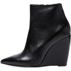 Pierre Hardy Women's Pointed-Toe Wedge Bootie - Black - Size 40 ($449) ❤ liked on Polyvore featuring shoes, boots, ankle booties, wedge ankle boots, wedge booties, black wedge booties, black leather ankle booties and black leather bootie