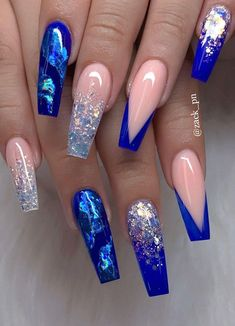 67 Stunning Dark Blue Nail Designs Source by Dark Blue Nails, Blue Acrylic Nails, Summer Acrylic Nails, Marble Nails, Blue Coffin Nails, Nail Art Blue, Bright Blue Nails, Blue Gel Nails, Blue Glitter Nails