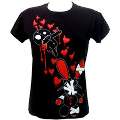 Luv Bunny LB Stich Top | Gothic Clothing | Emo clothing | Alternative... ($22) ❤ liked on Polyvore featuring tops, t-shirts, shirts, blusas, t shirts, bunny tee-shirt, punk rock tees, punk rock shirts, goth t shirts and gothic tops