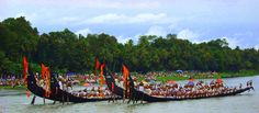 The Aranmula Boat Race the oldest river boat fiesta in Kerala is held during Onam (August-September). It takes place at Aranmula, near a Hindu temple dedicated to Lord Krishna and Arjuna. In 1972, snake boat races were also added to the program of the festival. Thousands of people gather on the banks to watch the snake boat races. The golden lace at the head of the boat, the flag and the ornamental umbrella at the center make it a show of pageantry too.