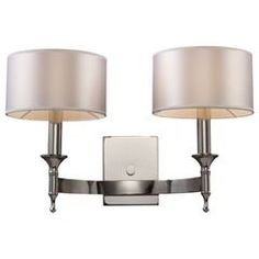 Buy the Elk Lighting Polished Nickel Direct. Shop for the Elk Lighting Polished Nickel Two Light Wall Sconce from the Pembroke Collection and save. Contemporary Wall Sconces, Modern Sconces, Transitional Wall Sconces, Modern Contemporary, Transitional Style, Modern Wall, Modern Design, Park Lighting, Wall Sconce Lighting