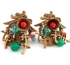 Signed ART Oriental Dangle Cluster Earrings Art by RenaissanceFair