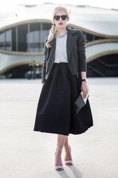 Midi Skirt & Leather Jacket
