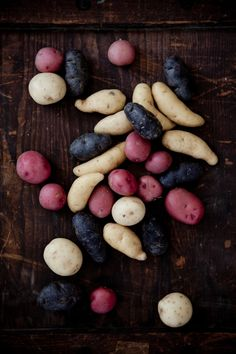 All the kinds of potatoes from our community garden. Red, white, blue and yellow too!!!!