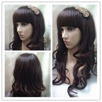 Fashion Long Curly Hair Synthetic Neat Bang Wig(color:Brown)