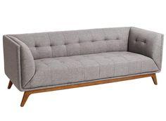Sofá de 3 Plazas Capitoné Madera de Caucho 81 x 198 x 74 cm