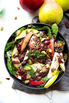 Apple Pistachio Quinoa Spinach Salad