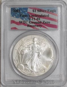 2001 AMERICAN SILVER EAGLE $ GEM UNC WTC Ground Zero Recovery 09-11-01 - eBay auction closing Monday 02/24/14, item #310877951089