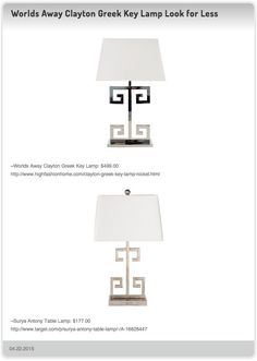 Worlds Away Clayton Greek Key Lamp $499.00 vs Surya Antony Table Lamp $177.00