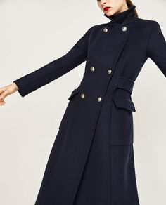 LONG NAVY COAT-Coats-OUTERWEAR-WOMAN | ZARA United Kingdom