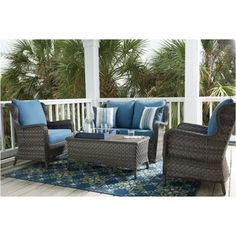 Outdoor Furniture Outdoor Furniture Sets Abbots Court 4 pc Outdoor Seating Set at Johnny's Crazy Deals Best Outdoor Furniture, Wicker Furniture, Furniture Sale, Asian Furniture, Painted Furniture, Furniture Plans, Street Furniture, Furniture Dolly, Modern Furniture