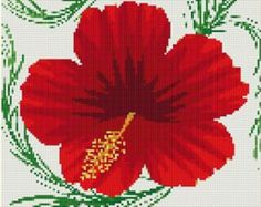 Red Hibiscus Flower Counted Cross Stitch Pattern in PDF for Instant Download