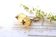 Yellow earrings, vintage style earrings, yellow bead earrings, resin jewellery £10.50