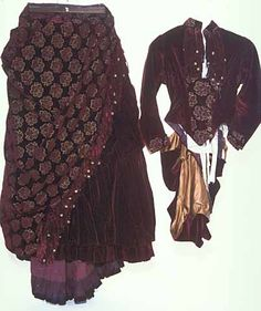 Brocaded burgundy velvet two-piece evening gown