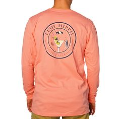 Fish Hippie Scales & Cocktails Long Sleeve T-Shirt in Coral