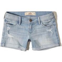 Hollister Denim Midi Shorts ($13) ❤ liked on Polyvore featuring shorts, hollister, destroyed light wash, frayed shorts, frayed denim shorts, ripped shorts, hollister co. shorts and fold over shorts