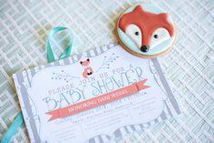 Fox Themed Baby Shower Invitations