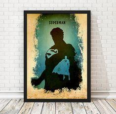 Vintage-Mann aus Stahl Superman Justice League Poster, Retro-Poster, minimalistische Poster