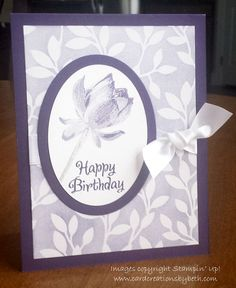 Stampin' Up! ... handmade birthday card fromCard Creations by Beth ... monochromatic purples ... classic styling ... three step lotus ...