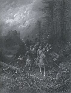"""Gustave Doré  Plate XIV - """"The Knights' Progress,"""" circa 1867-69  Illustration for Idylls of the King by Alfred, Lord Tennyson"""