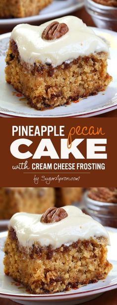 Pineapple Pecan Cake with Cream Cheese Frosting is simple and quick recipe for delicious, homemade cake from scratch, with ingredients that you already have in pantry. (cream cheese frosting for cookies) Cupcakes, Cupcake Cakes, Just Desserts, Delicious Desserts, Dessert Recipes, Gourmet Desserts, Dessert Food, Plated Desserts, Recipes Dinner