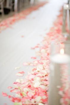 wedding aisle with pink rose petals