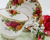 Royal Albert Teacup, Old Country Roses, Footed Cup and Saucer Set, Red Yellow Roses, Gold Trim, Bone China Made in England, TheSweetBasil