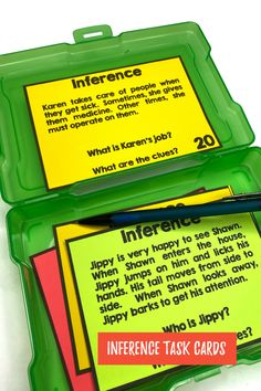 Students will practice inferences with these task cards. They will read between the line and use their knowledge. Primary Classroom, Classroom Ideas, Inference, Teaching French, Teacher Hacks, Educational Activities, Teaching Tips, Task Cards, Classroom Management
