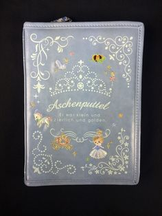 New Japan Fairy Tale Embroidery Cinderella story book travelling wallet in blue Cinderella Story Book, Kawaii Stuff, Cute Japanese, Fairy Tales, Travelling, Embroidery, Wallet, Anime, Crafts