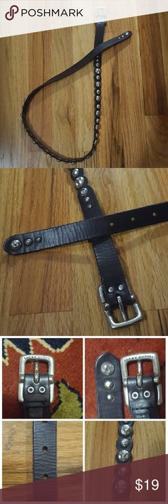 """Lucky Brand Skinny Black Leather Belt S Awesome belt! Black leather with distressed rivet/(metal """"button"""") details. Length from end to end is approx 38"""". Width is a very skinny 3/4"""". Leather has distressing/lines, look at 3rd pic for details. Really cool belt! Lucky Brand Accessories Belts"""
