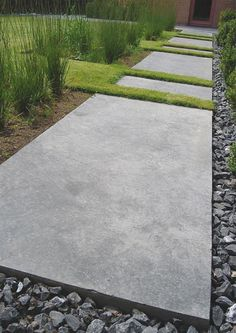 "- Vertus -hipster ""edgy"" grass dividers break up the concrete."
