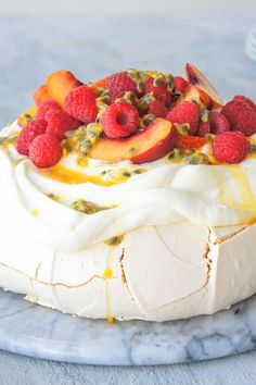 "Pavlova ""This is the recipe I've been using for over 40 years… Never failed yet. Pavlova Cake, Pavlova Recipe, Just Desserts, Delicious Desserts, Yummy Food, Baking Recipes, Cake Recipes, Dessert Recipes, Cupcakes"
