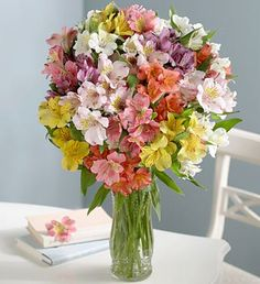 These are a nice set of colors for a flower arrangement; however, I would prefer a mix of flower types.