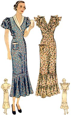 T1889 1930s Ladies Hooverette Day Dress Sewing Pattern Hollywood Glamour | eBay