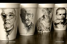 Art on Styrofoam coffee cups by Cheeming Boey.  If you're willing to overlook the minor fact that it has an almost complete inability to disintegrate, there could be one redeeming factor that the sinful Styrofoam cup has to offer the world. California-based Malaysian artist Cheeming Boey has found it to provide the perfect surface to ink on.