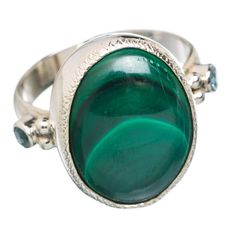 Malachite 925 Sterling Silver Ring Size 7.25 RING768210