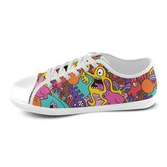 Cool Monsters Pattern Popular Design Custom Canvas Shoes for Women(Model016)