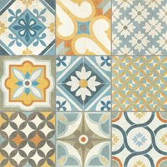Invite some Moroccan charm into your interiors with these Louane Tiles. A colourful patchwork of Mediterranean patterns, they are ideal for a statement floor. Hexagon Patchwork, Patchwork Patterns, Tile Patterns, Tile Design, Pattern Design, Arabesque Pattern, Blue Floor, Quilt Making, Wall Tiles
