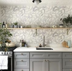 Love seeing our wallpaper used in this project! See examples of how you can use this fabric in your home on our site. Powder Room Wallpaper, Kitchen Wallpaper, Home Wallpaper, Wallpaper Cabinets, Wallpaper Ideas, Built In Bar Cabinet, Kitchen Backsplash, Kitchen Cabinets, Kitchen Island