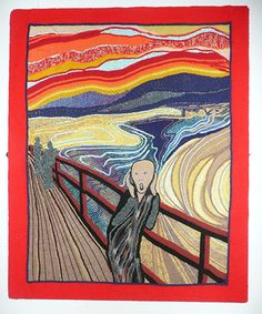 5 classic pieces of art recreated with knitting. Edvard Munch's The Scream