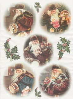 Rice Paper for Decoupage Decopatch Scrapbook Craft Sheet Vintage Hallo Santa!