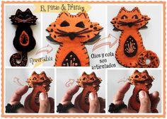 Halloween en fieltro. Broche-collar reversible: gato negro o gato naranja ¿cuál es tu preferido?   http://elpatiodefranky.blogspot.com.es/2012/10/halloween-broche-brooch-collar-reversible-fieltro-felt-gato-cat-negro-naranja-handmade.html